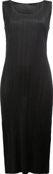 Pleats Please By Issey Miyake , Pleated Fitted Dress Women Polyester 3, Women's, Black