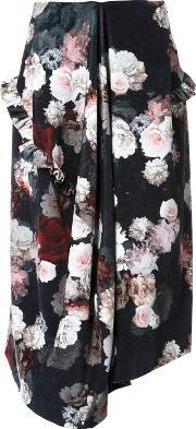 Preen By Thornton Bregazzi , Flower Print Skirt Women Cotton M, Women's, Black