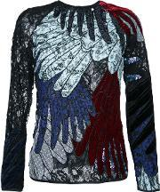 Romance Was Born , Feather Applique Top Women Silkpolyester 6, Women's, Black