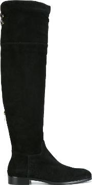 Sergio Rossi , Over The Knee Boots Women Leathercalf Suederubber 36, Women's, Black