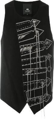 Tom Rebl , 'arrows' Embroidered Vest Men Cottonlinenflaxspandexelastanewool 50