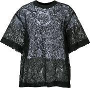 Vera Wang , Layered Floral Lace Top Women Silkcorknylon 2, Women's, Black