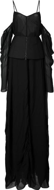 Vera Wang , Off The Shoulder Draped Gown Women Silk 0, Women's, Black