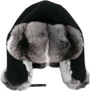 Inverni , Chinchilla Fur Lined Trapper Hat Women Leathercashmerechinchilla One Size, Women's, Black