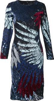 Romance Was Born , Short Feather Applique Dress Women Silkcottonnylonviscose 10, Women's, Black