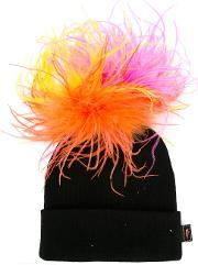 Piers Atkinson , 'explosion' Beanie Women Acrylicostrich Featherother Fibers One Size, Women's, Black