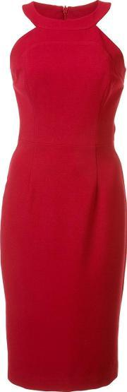 Black Halo , Round Neck Fitted Dress Women Spandexelastaneviscosepolyimide 10, Women's, Red