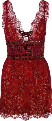 For Love And Lemons , Sheer Floral Lace Mini Dress
