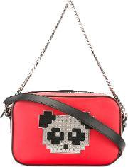 Les Petits Joueurs , Panda Shoulder Bag Women Calf Leatherlamb Skinbrass One Size, Women's, Red