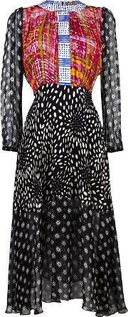 Duro Olowu , Multi Print Shirt Dress Women Silk 8, Women's, Black