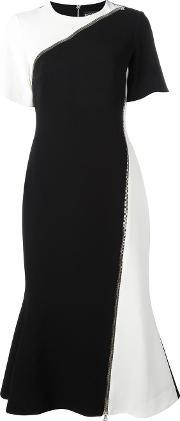 David Koma , Zipped Detail Flared Dress Women Spandexelastaneacetateviscose 10, Women's, Black