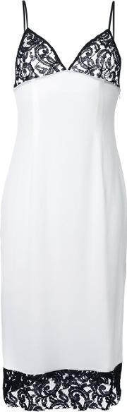 Dressedundressed , Lace Detail Mid Dress Women Silk 1, Women's, White