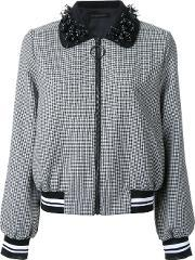 Mother Of Pearl , Houndstooth Pattern Bomber Jacket Women Polyesterwool S, Women's, Black