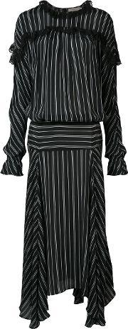 Preen By Thornton Bregazzi , Long Striped Panel Dress Women Viscose Xs