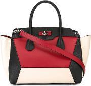 Bally , Contrast Panel Tote Bag Women Calf Leather One Size, Women's, Red
