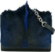Serapian , Foldover Crossbody Bag Women Goat Furlamb Skin One Size, Women's, Black
