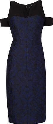 J Mendel , J. Mendel Jacquard Cut Off Shoulders Dress Women Silk 6, Women's, Blue
