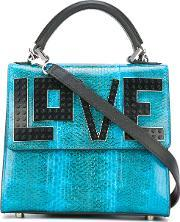 Les Petits Joueurs , Love Plaque Tote Women Leather One Size, Women's, Blue