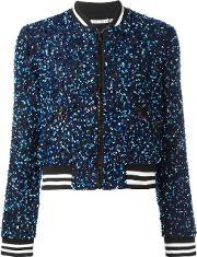Aliceolivia , Alice Olivia Sequin Embroidery Cropped Bomber Jacket Women Silkpolyesterspandexelastane Xs, Women's, Blue