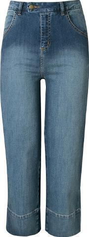 Andrea Marques , High Waisted Cropped Jeans Women Cottonspandexelastane 38, Women's, Blue