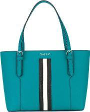 Bally , Striped Trim Tote Bag Women Calf Leather One Size
