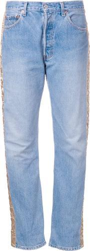 Bless , Quilted Panel Jeans Women Cottonpolyesterviscose S, Women's, Blue