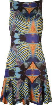 Blue Man , Graphic Flared Dress