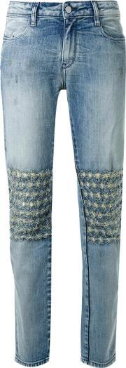 Brocken Bow , Distressed Detail Boyfriend Jeans Women Cottonspandexelastane 31, Women's, Blue