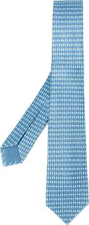 Bulgari , Micro Print Tie Men Silk One Size, Blue