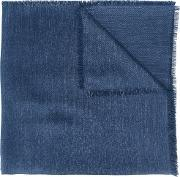 Canali , Frayed Edge Scarf Men Silk One Size, Blue