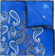 Canali , Patterned Pocket Square Men Silk One Size, Blue