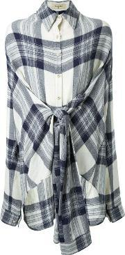Fad Three , Checked Front Knot Shirt