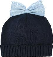 Federica Moretti , 'denim Bow Detail' Beanie Women Cotton One Size, Women's, Blue
