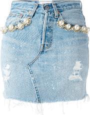 Forte Couture , Pearl Embellished Denim Skirt Women Cotton 28, Women's, Blue