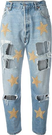 History Repeats , Ripped Star Patch Jeans Women Cotton M, Women's, Blue