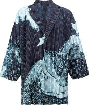 Homme Plisse Issey Miyake , Abstract Print Open Jacket Men Polyester 3