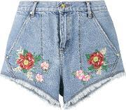 House Of Holland , Lee Flower Embroidered Denim Shorts