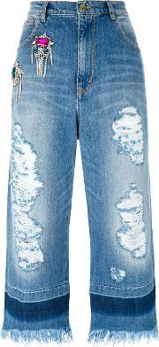 Marco Bologna , Crystal Embellished Cropped Raw Jeans Women Cotton 42, Women's, Blue
