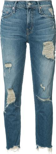 Mother , Ripped Cropped Jeans Women Cottonspandexelastane 26