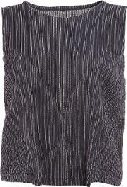 Pleats Please By Issey Miyake , Striped Effect Sleeveless Top Women Cottonpolyester 3, Women's, Blue