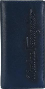 Salvatore Ferragamo , Kentucky Embossed Breast Wallet Men Calf Leather One Size, Blue