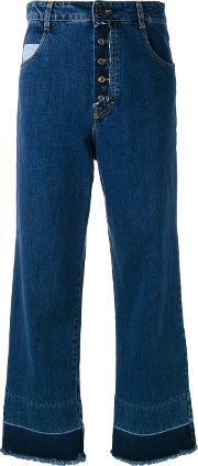 Semicouture , Frayed Wide Cropped Jeans Women Cottonpolyester 28, Women's, Blue