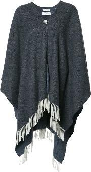 Rodebjer , Fringed Cape Women Wool One Size, Women's, Grey