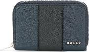 Bally , Striped Zip Up Wallet Men Calf Leather One Size, Blue