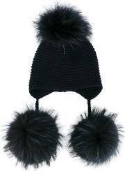 Inverni , Raccoon Fur Triple Pom Pom Beanie Women Cashmereracoon Fur One Size, Women's, Blue