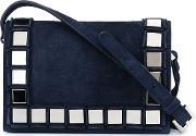 Tomasini , Mirror Squares Crossbody Bag Women Suede One Size, Women's, Blue