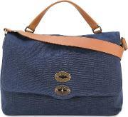 Zanellato , Removable Strap Tote Men Cottonleather One Size, Blue