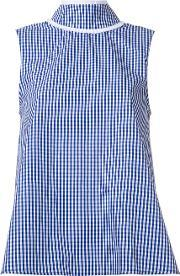 Jourden , High Neck Checked Tank Women Cotton 36, Women's, Blue