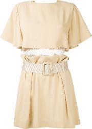 Toga , Pleated Trim Belted Dress Women Polyesteracetate 38, Women's, Brown