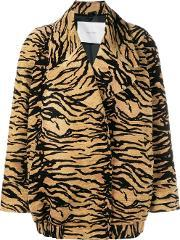 Adam Lippes , Tiger Print Jacket Women Silkcottonacrylic M, Women's, Brown